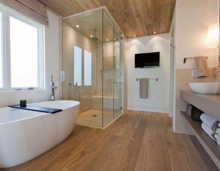 alluring-freestanding-tub-with-glass-shower-enclosure-combined-rounded-shower-head-also-mounted-lcd-tv-and-brown-oak-vanity-unit-organizer-base-towel-shelves-featuring-bowl-sink-ideas-frees