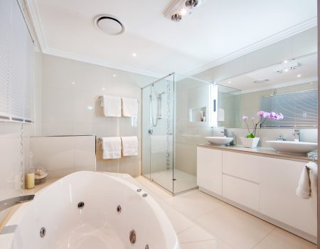 bathroom-enchanting-decorating-ideas-using-rectangular-white-laminate-vanity-cabinets-and-rectangular-glass-shower-doors-also-witg-rectangular-mirrors-terrific-decorations-of-remodeled-bath